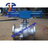 Válvula de esfera pneumática da flange do aço inoxidável do eixo de API/DIN/JIS