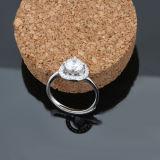 Anel de cristal da abertura do embutimento da prata esterlina dos amantes 925