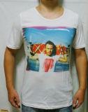 T-shirt blanc d'hommes d'impression de Digitals de coton de mode faite sur commande de vente en gros