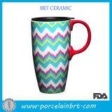 Wave de gran capacidad Printed Ceramic Coffee Mug con un Lid