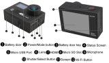 Ultra câmera impermeável do esporte da tela dupla da câmera da ação de 4k HD WiFi com a câmara de vídeo de controle remoto do capacete de DV DVR