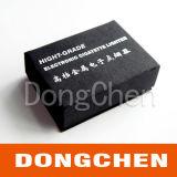 Caixa de presente de carimbo quente de prata do papel do preto da impressão do logotipo
