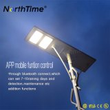 luz de rua solar solar do controle 120W do telefone 12V 78ah APP do painel de 18V 150W Sunpower