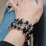 Dos braceletes largos retros do estilo do Rhinestone jóia superior da forma do fabricante