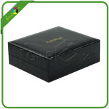 Caisse d'emballage noire de cadeau de papier maroquin de Faux