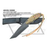 couteau fixe de lame de poignard tactique électrophorétique de la lame 9.7inch avec le cordon en nylon bleu