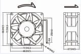 Ventilador de alta velocidad de la C.C. de 12V 24V 8038 80m m 80X80X38m m