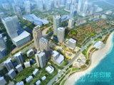 中央ビジネス地区の計画の空中写真のレンダリングCbd
