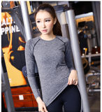여자가 도매 88% 폴리에스테 12% 스판덱스 스포츠 상단 여자에 의하여, 체조 착용, 긴 소매 요가 꼭대기에 오른다