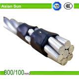 Cable aéreo trenzado conductor de aluminio de la envoltura del PVC del aislamiento de XLPE