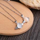 Collana Pendant di angelo opalino della pietra di luce della luna dell'argento sterlina delle donne 925 con la catena