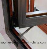 Ventana de aluminio hermética/insonora de la rotura termal del grano de la alta calidad de madera del color del marco con el precio en fábrica (ACW-064)