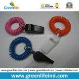 Bucle plástico rojo/azul de la bobina de la venda de muñeca con el plástico que alerta silbidos