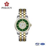 Senhora luxuosa relógio da faixa do couro do relógio das mulheres dos relógios do aço de liga