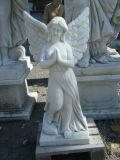 Scultura di angelo intagliata mano bianca, statua di marmo del bambino per il giardino