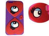El flor del melocotón Eyes la caja del teléfono celular del silicón de los labios para el iPhone de Huawei P8 Lite 7 7plus 6 6plus (XSF-042)