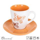 taza 7oz y platillo con forma elegante grabada de la mariposa