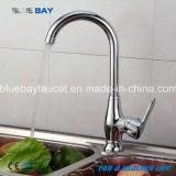 Trou simple de traitement de cuisine de Hot&Cold de mélangeur de robinet de taraud de chrome en laiton moderne chaud de bassin