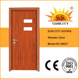 O projeto de madeira o mais atrasado da porta com o vidro pequeno aberto (SC-W027)