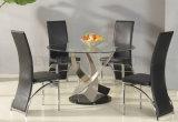 Европейская обедая установленная таблица Seater Tempered стекла 4 обедая конструирует (NK-DTB017)