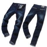 新しいメンズは適当でまっすぐなズボンの青いデニムのジーンズを細くする