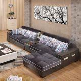 流行の本物の現代木のソファーの舞台装置