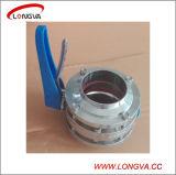 Válvula de borboleta sanitária da soldadura 3-Piece do aço inoxidável 304