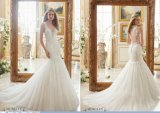 恋人の花嫁衣装の段になったレースの人魚のウェディングドレス