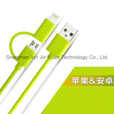 2 in 1 USB Cable Nylon Insulated mit Magnetic Ring