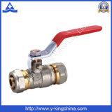 Válvula de bola de compresión de latón forjado con mango de hierro (YD-1039)