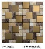 Mosaico de mármol de piedra de oro de lujo del material de construcción (FYSC144)