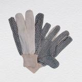 coton pointillé par PVC rouge de poignet du Knit 5+7oz fonctionnant Glove-2207