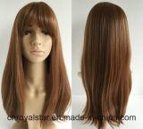 La nueva manera larga recta marrón peluca sintética explosión Neat