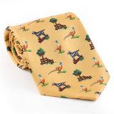 Cravate estampée par fantaisie faite sur commande de polyester de soie de 100% (NT-006)