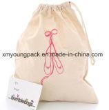 Embalagem de impressão promocional Custom Printed Plain Calico Travel Bag Embalagem de pó Bag 100% Natural Organic Cotton Cotton Drawstring Wash Sacos de lavanderia