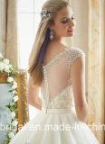 Крышка 2017 мантии шарика Tulle Bridal Sleeves отвесное заднее платье венчания Mrl2875