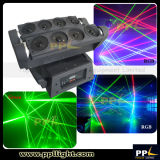 8PCS移動ヘッドくものレーザー光線(RGBか単一の緑)