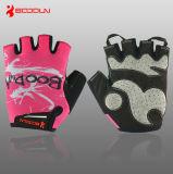 Luvas cor-de-rosa de ciclagem especializadas das meninas do esporte do estiramento respirável