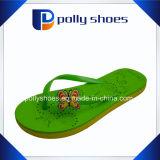 Sandali piani di caduta di vibrazione della cinghia verde delle donne nuovi