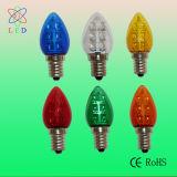 Bombillas talladas plástico LED C7 del árbol de navidad bajo del LED C7 E12