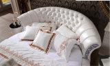 Base redonda copetuda de lujo del cuero genuino fijada para el dormitorio (LB-001)