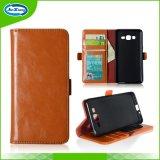 Caixa de couro do telefone de pilha das ranhuras para cartão do plutônio para Samsung