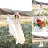 Strand-Sommer V-Stutzen Spitze-langes Hülsen-Hochzeits-Kleid (SA009)