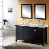 Doppia vanità della stanza da bagno dell'hotel di legno solido del bacino