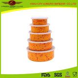 Bacia do alimento do esmalte do recipiente de armazenamento do alimento de 5 jogos