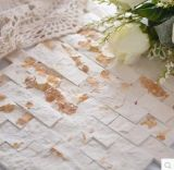 Tuile de marbre beige neuve et bon marché de mur en pierre d'art de la Chine