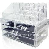 Organisateur acrylique en gros d'étalage de mémoire de bijou et de produit de beauté deux parties réglées