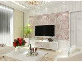 Cercles classiques de luxe sans joint gravant la salle de séjour en relief de chambre à coucher d'hôtel de tissu de papier peint