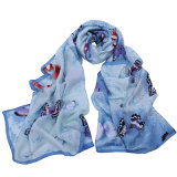 Form Style Polyester Butterfly Printed Scarf für Women