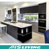 Simples branco puro com mobília preta do gabinete de cozinha de quartzo (AIS-K072)